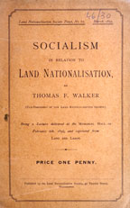 Socialism in relation to land nationalisation